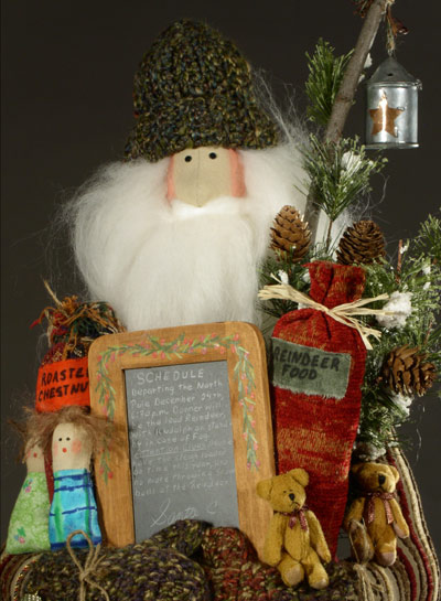 detail of Father Christmas, with schedule and lantern